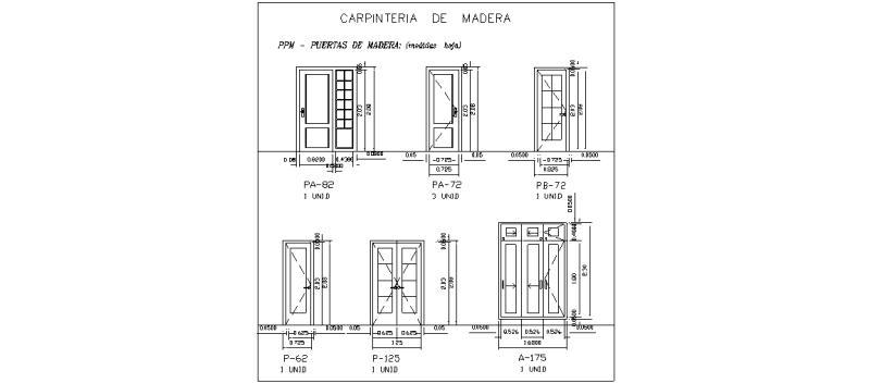 Bloques autocad gratis puertas interiores y de entrada - Medidas puerta entrada ...