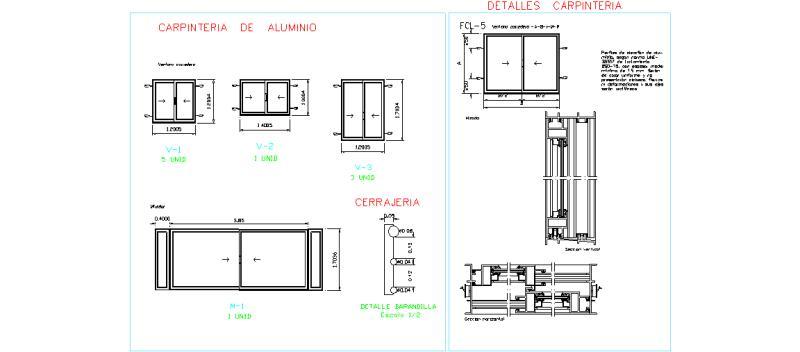 Bloques autocad gratis carpinter a de aluminio y pvc - Detalle carpinteria aluminio ...