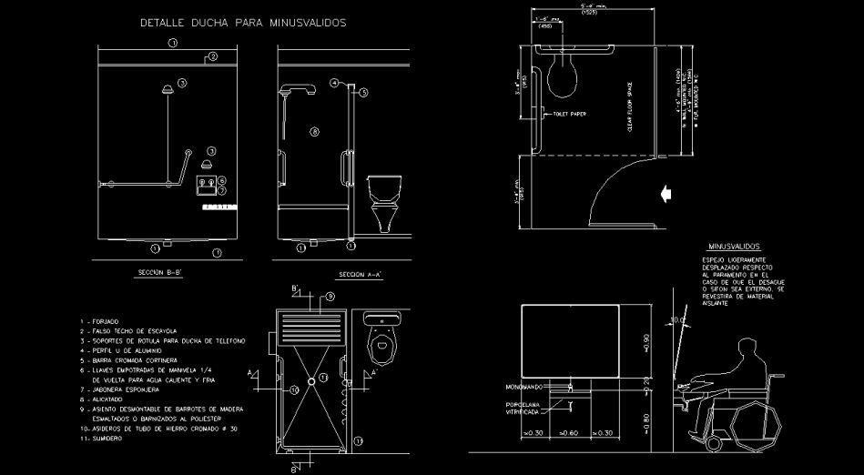 Baño Minusvalidos Dimensiones:Bloques AutoCAD Gratis – Librerias de accesibilidad a personas con