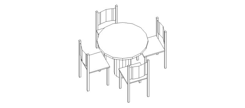 Bloques autocad gratis de mesa redonda con 4 sillas en 3 for Comedor facil de dibujar