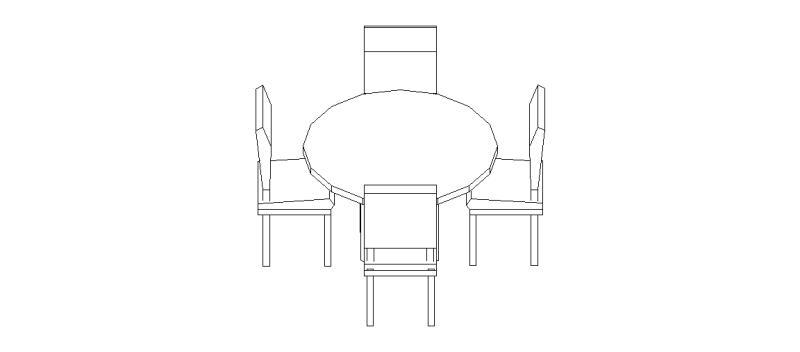 Bloques autocad gratis de mesa redonda con 4 sillas en 3 dimensiones 02 - Mesa redonda con sillas ...