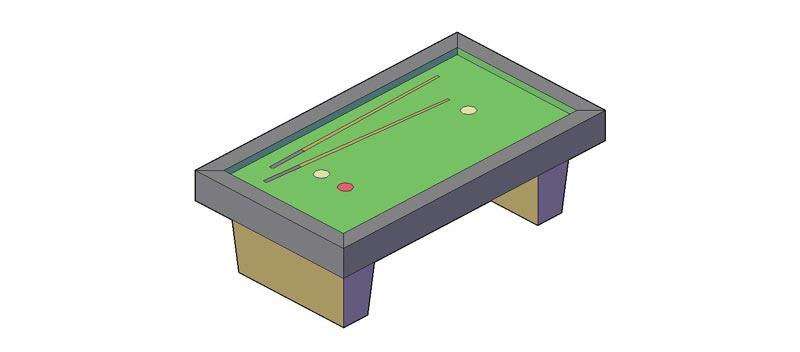 mesa billar en 3 dimensiones