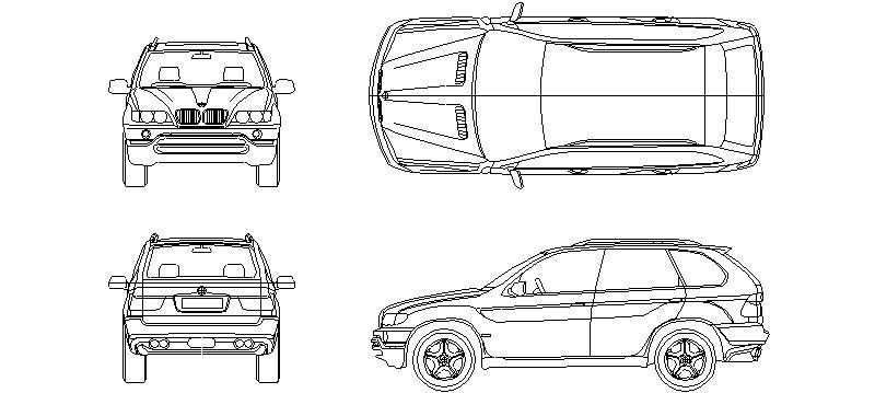 Bloques autocad gratis de coche bmw x5 vistas completas for Medidas de un carro arquitectura