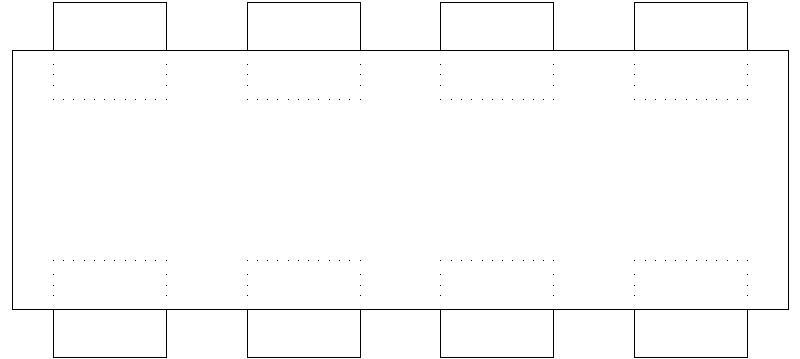 Bloques autocad gratis de mesa rectangular 8 sillas for Mesa 8 personas medidas