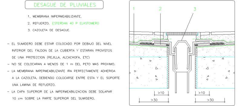 Bloques autocad gratis de detalle de sumidero en azotea for Cubierta piscina transitable