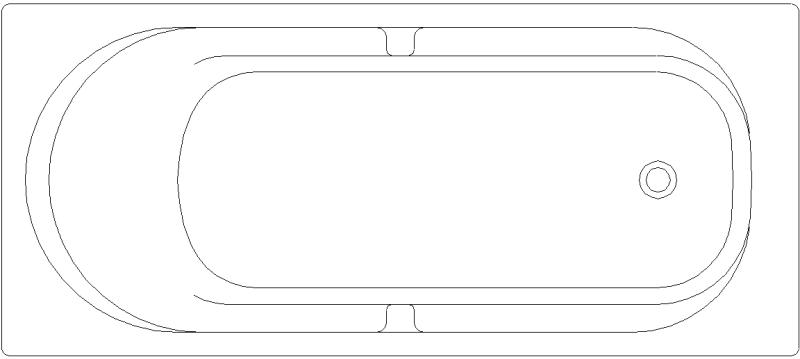 Baño Vista En Planta:Bloques AutoCAD Gratis de Bañera en planta 1700×750 mm