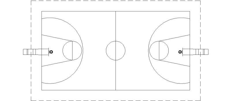 Bloques AutoCAD Gratis de Cancha de Baloncesto