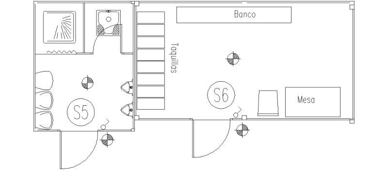 Bloques autocad gratis de planta de caseta con oficina for Dimensiones arquitectonicas