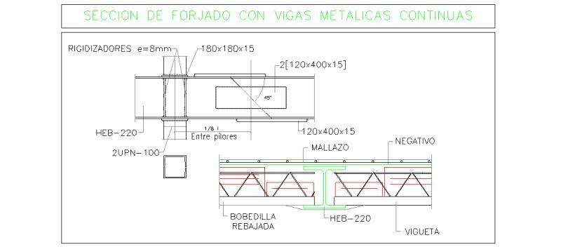 Bloques autocad gratis de secci n de forjado con viga for Forjado estructura metalica