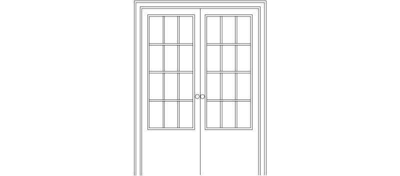 Bloques AutoCAD Gratis de Doble puerta acristalada de 0,72 x 2,03
