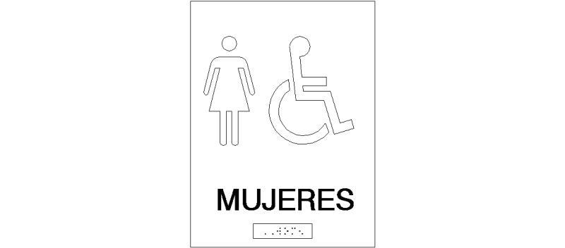 Bloques Autocad Gratis De Placa De Aseo Femenino Y