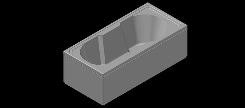 bañera rectangular en 3 dimensiones