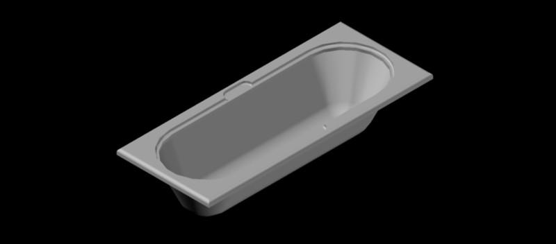 Bañera rectangular en 3 dimensiones, mod. 02