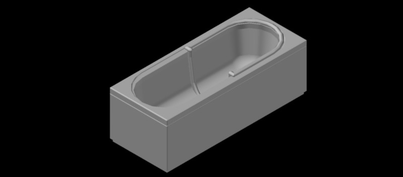 Bañera rectangular en 3 dimensiones, mod. 03