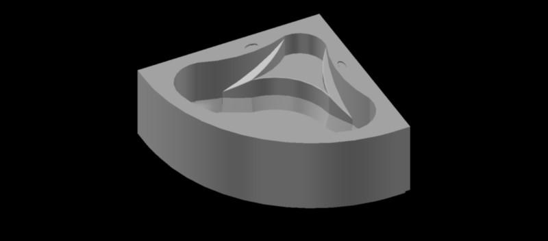 Bañera de esquina en 3 dimensiones