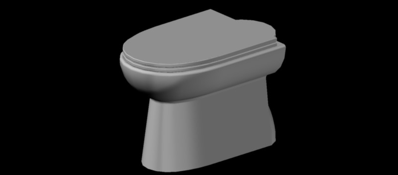 inodoro - w.c. de tanque alto en 3 dimensiones