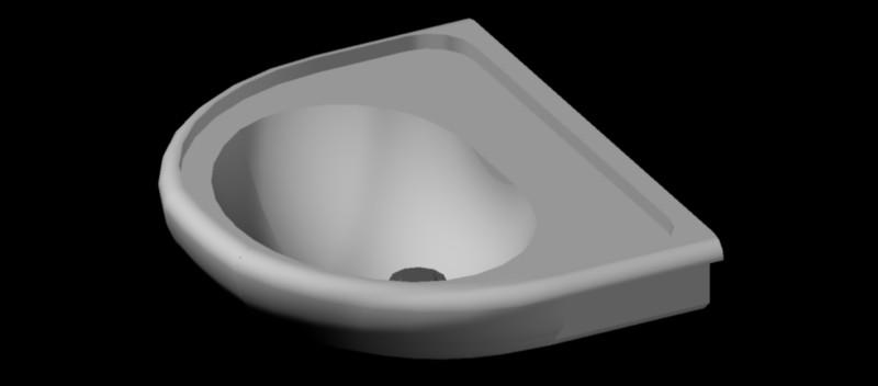 lavabo de pared en 3 dimensiones, modelo 02