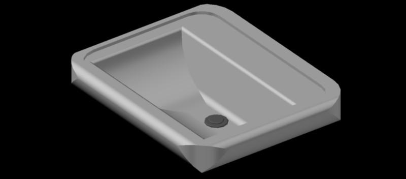 lavabo rectangular en 3 dimensiones