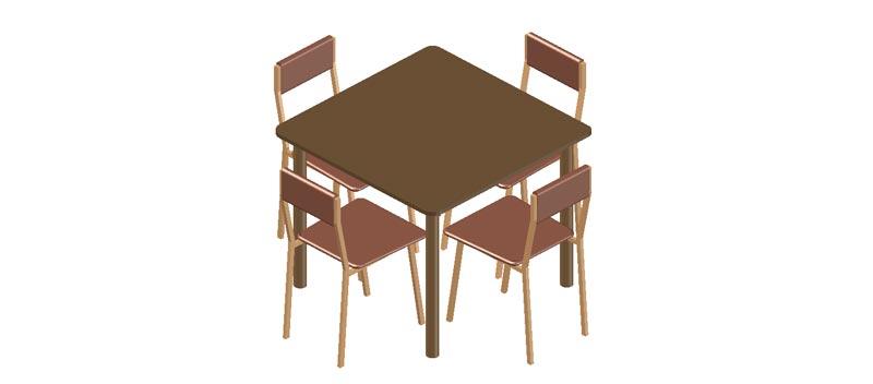 Mesa cuadrada con 4 sillas en 3 dimensiones