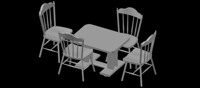 mesa rectangular con 4 sillas en 3 dimensiones