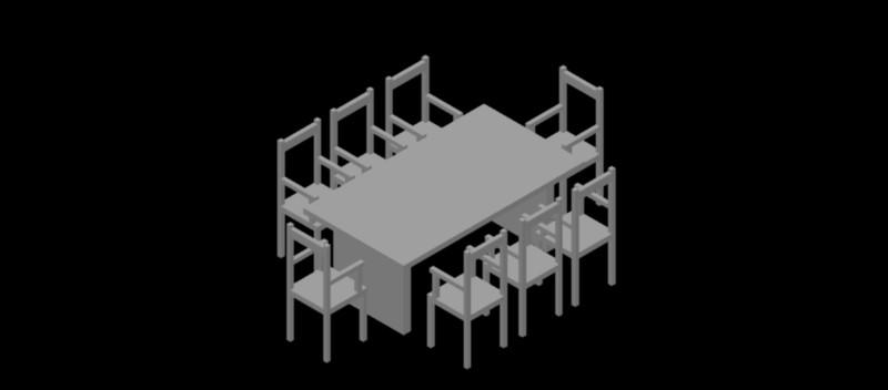 mesa rectangular con 8 sillas en 3 dimensiones
