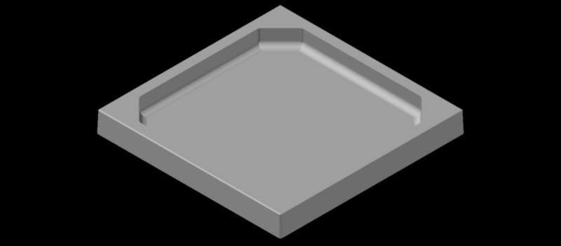 plato de ducha cuadrado visto en 3 dimensiones