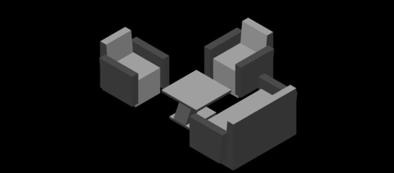 conjunto de 2 sillones, sofá y mesa en 3 dimensiones