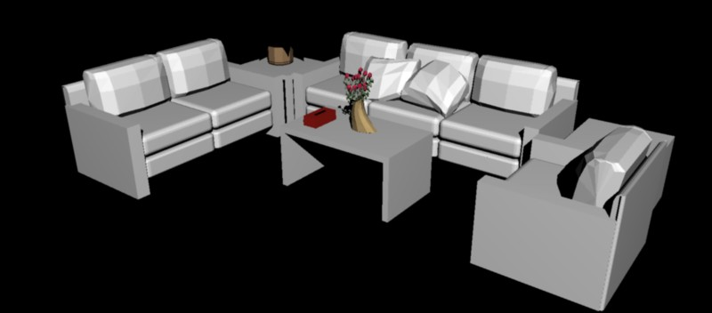 conjunto de 2 sofás, butaca y mesas auxiliares en 3 dimensiones
