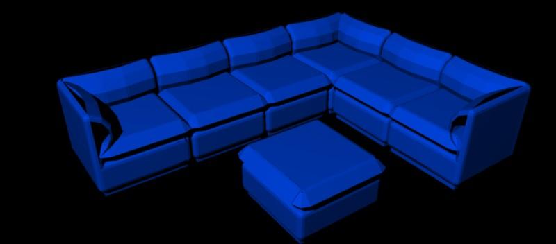 sofá de esquina de 6 plazas y mesa de centro