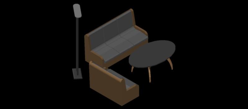 conjunto de 2 sofás, mesa de centro y lámpara en 3 dimensiones