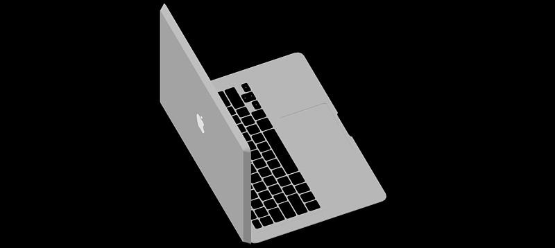 ordenador portátil Apple Macbook en 3d (3 dimensiones)