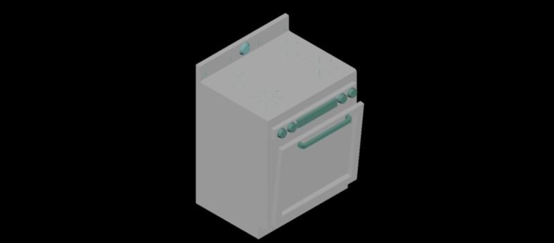 cocina con horno en 3d (3 dimensiones) modelo 01