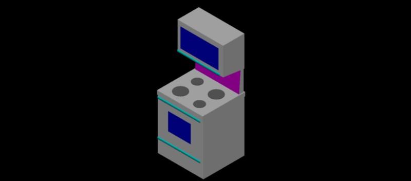 cocina con horno en 3d (3 dimensiones) modelo 02