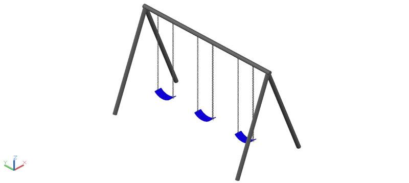 Columpio triple en 3d (3 dimensiones)