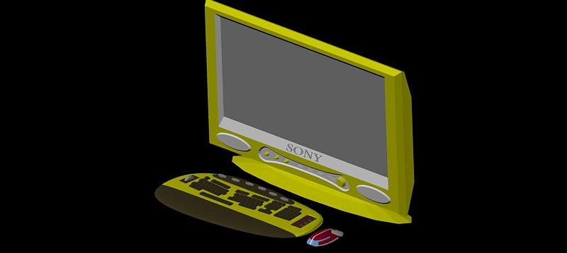 ordenador pantalla plana en 3d (3 dimensiones)