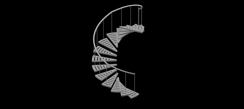escalera de caracol en 3d (3 dimensiones)