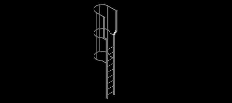 escalera vertical o de gato en 3d (3 dimensiones)