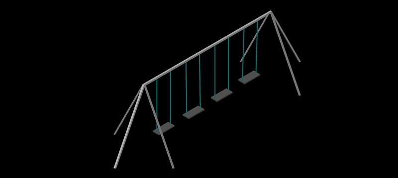 columpio cuádruple en 3d (3 dimensiones)