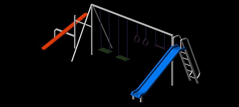 estación múltiple de parque infantil en 3d (3 dimensiones)