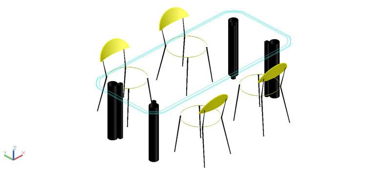 mesa rectangular con tapa de vidrio en 3 dimensiones