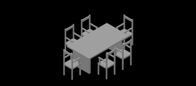 mesa rectangular con 6 sillas en 3 dimensiones