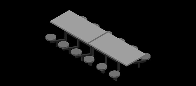 estructura conjunta de mesa y 12 sillas fijas