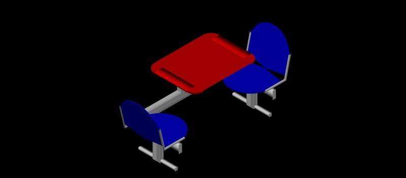 estructura conjunta de mesa y 2 sillas