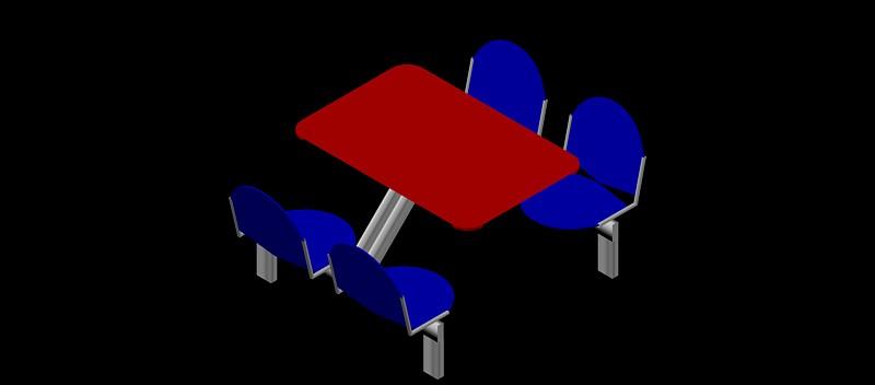 estructura conjunta de mesa y 4 sillas fijas