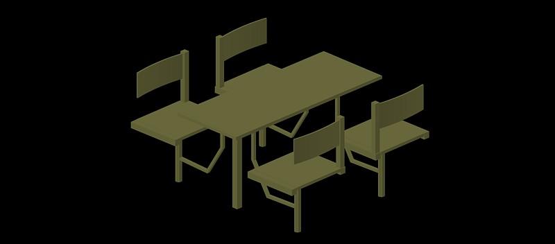 estructura conjunta de mesa y 4 sillas fijas, modelo 02
