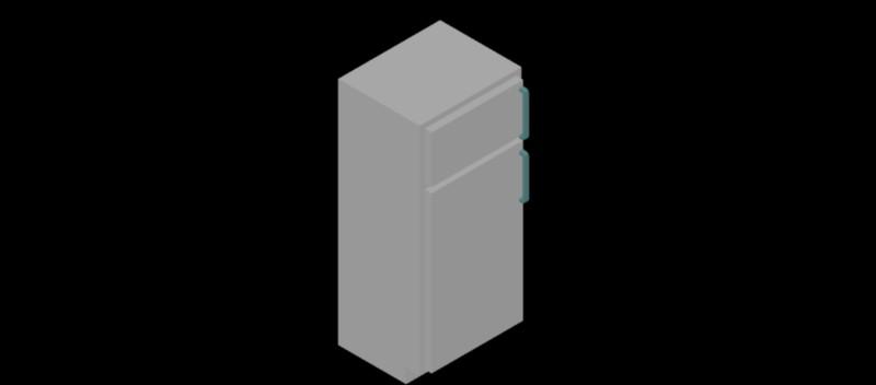 Bloques autocad gratis de nevera frigor fico con congelador superior en 3d - Dimensiones de una nevera ...