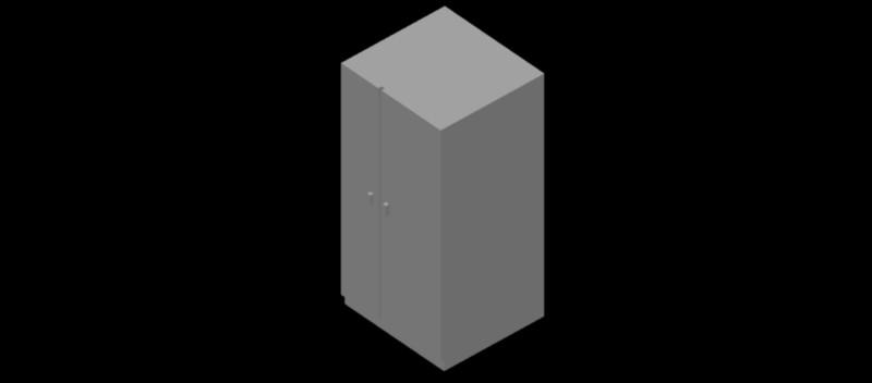 nevera - frigorífico de dos puertas en 3d