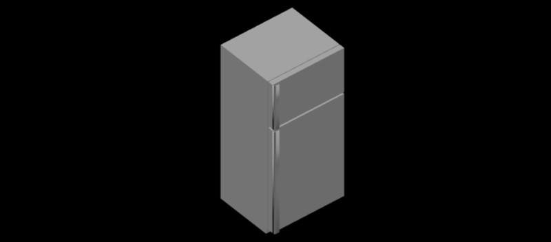 nevera – frigorífico con congelador en 3d, modelo 02