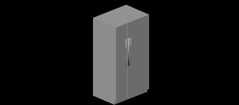 nevera – frigorífico de dos puertas en 3d, modelo 02