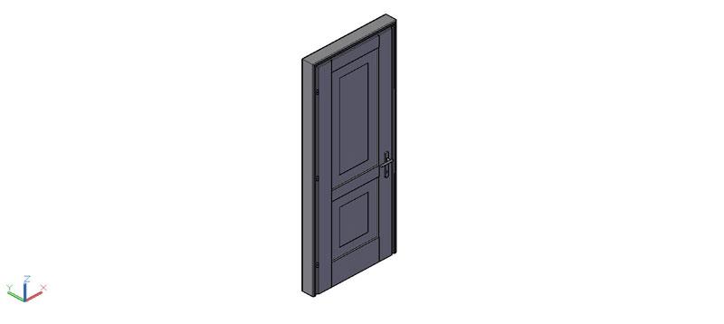 puerta de una hoja en 3d (3 dimensiones) modelo 02